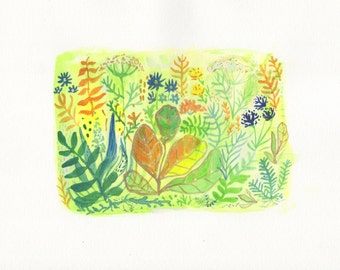 Flora Original Watercolor Painting 8x10in Blue, Yellow, Gold