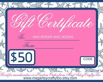 50 Dollar Gift Card for Christmas and Hanukkah Hostess Gifts and Happy Holidays