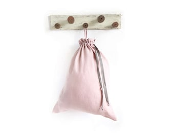 Blush Laundry bag made of stone washed linen  - Hanging laundry bag - Dorm laundry bag
