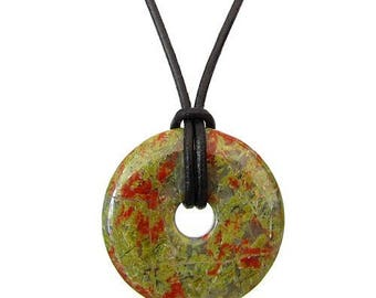 Chinese pi 30mm donut pendant necklace - unakite