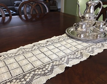 Vintage Inspired Knotted Lace Table Runner Set of 2 Off-White Ecru Dresser Scarf Table Linen Embroidered