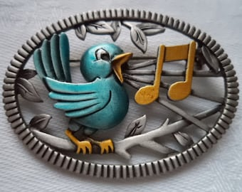 Vintage Signed JJ Silver pewter Singing Bluebird Brooch/Pin