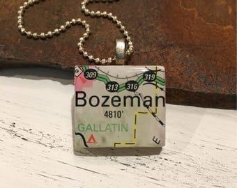 Scrabble Tile Pendant - Montana series - Bozeman