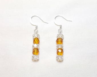 November Golden Topaz Crystal Petite Dangle Earrings