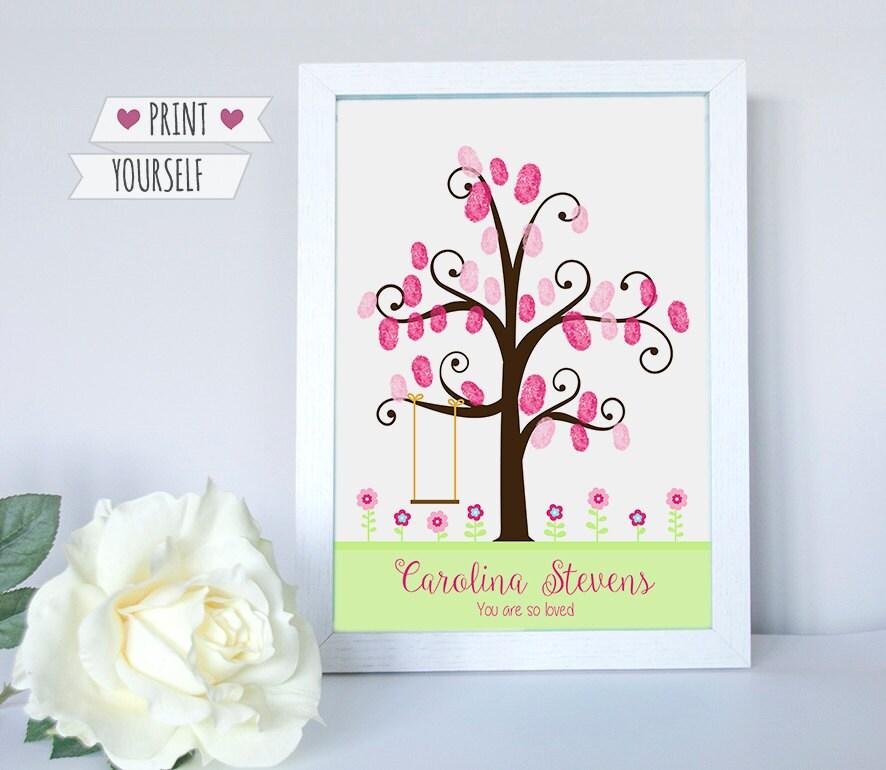 columpio árbol huellas / descargable pdf / flores nacimiento