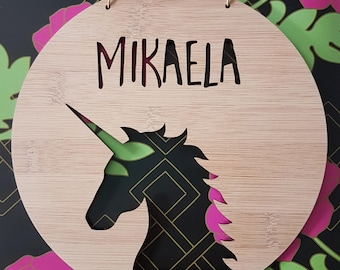 Unicorn Personalised Wooden Wall / Door Hanging 14cm-19.5cm-wall hanging-kids door sign-custom name-kids gift-baby gift-lasercut-plaque