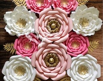 10pc nursery paper flowers, nursery ideas, nursery decor