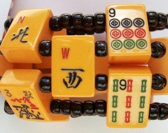 1940 Bakelite Bold Wide Cuff Mah Jong Bracelet