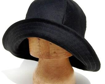 Black moleskin hat, ZUT rain hat, French fedora hat, moleskin rain hat, wide brimmed hat, French workwear hat, French moleskin hat, ZUT hat