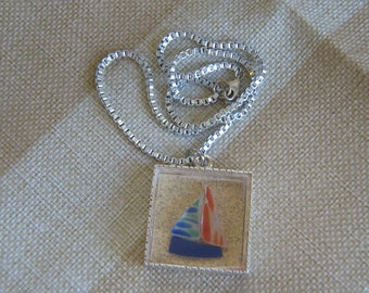 Tumbled Glass Sailboat Necklace on Silver Tone Chain