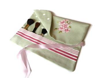 Makeup Brush Roll Pink & Green Cosmetic Brush Travel Accessory Beauty Gift