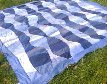 Upcycled Denim Water Ripples Quilt -  Queen Size Wave Quilt - Made to Order