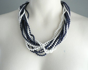 1950s Twisted Strand White Navy Bead Necklace