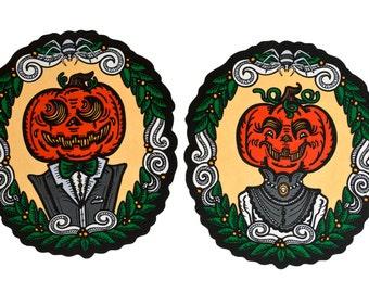 Halloween Pumpkin Portraits Cutout Decorations