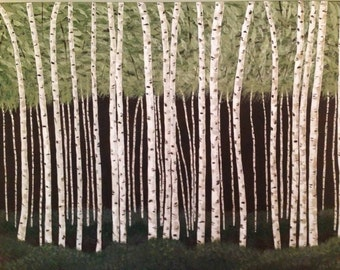 birch tree painting,tree painting,forest painting,green painting,brown painting,acrylic, landscape painting,30x40