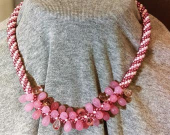 Kumihimo necklace with pink teardrops focal beads