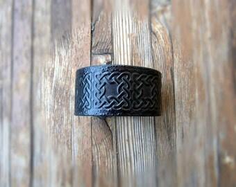 """Size 8.25"""" Celtic Leather Cuff-Mens Leather Cuff Bracelet-Black Leather Cuff-Tooled Leather Cuff-Leather Cuff Men-Medieval Cuff-Handmade"""
