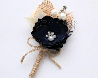 Navy Ivory Beige Burlap Boutonniere/ Mens Wedding Boutonniere/Navy Lapel Pin/ Handmade Accessory