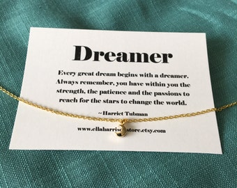 Tiny moon charm necklace-gold moon necklace, inspirational quote, dreamer quote, best friend, friendship necklace, gift for her, best friend