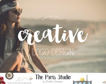 Vintage Text Logo Design Textured Text Logo Watercolor Logo Gold Foil Logo Design Website Logo Blog Logo Boutique Logo Branding Premade Logo