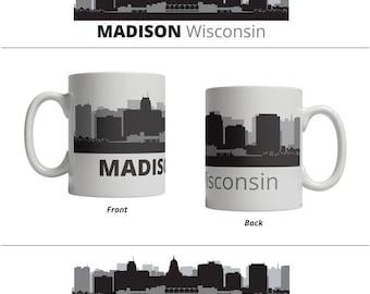 Madison WI Skyline Mug - Personalized Custom Text Ceramic Coffee Cup Tea, 11 oz - Wisconsin