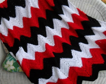 "Crocheted Afghan (XLarge 68inWx64inL) - Throw - Blanket - Coverlet - Bedspread - Gift - ""CHEVRONS""  in Black and Red and White"