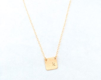 dainty initial necklace, tiny square