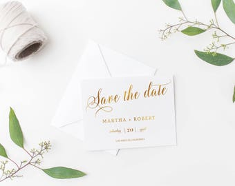 Printable Save the Date, Gold Glitter Wedding Save-the-Date, Save the Date Card, Wedding Announcement, Wedding Invitation, Template #S727
