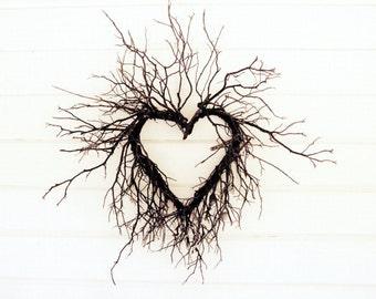 "Heart photograph - cottage chic wall art - fixer upper - modern rustic decor - farmhouse -  white decor - heart wall art ""Wild Heart"""