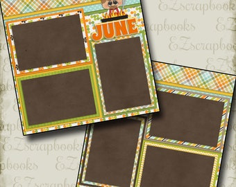 JUNE - 2 Premade Scrapbook Pages - EZ Layout 361