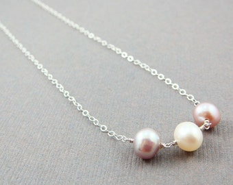 Pastel Pearl Necklace Sterling Silver, June Birthday, Wire Wrapped Pink Jewelry