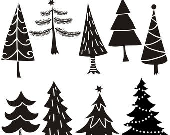 Christmas Tree Clipart, Tree Clipart, Tree Silhouettes Clipart, Tree SVG, Digital Clipart Tree, Printable, Instant Download