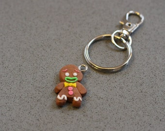 Handmade, polymer clay, gingerbread man, fashion charms