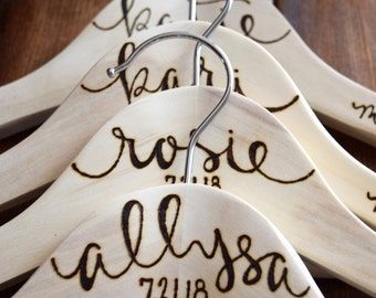 Bridesmaid Gift | Personalized Wooden Hangers | Bridal Party Favors