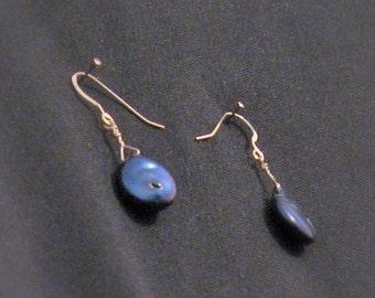 Beautiful Blues. Coin Pearl Earrings