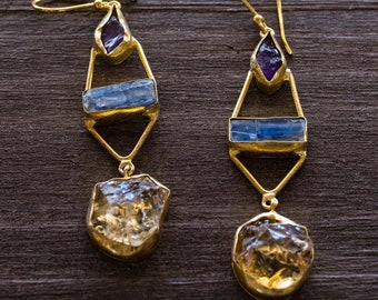 Raw and Rough Gemstone earrings with Kyanite, Amethyst and Citrine