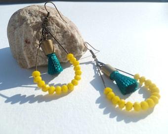 Teal and yellow tassel earrings