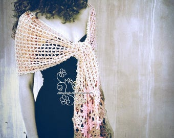Pastel scarf, crochet scarf, floral scarf, long scarf, lace scarf, Beige, rustic wedding, feminine, rustic lace, cottage chic, bridal scarf