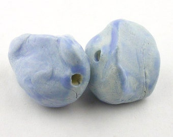Nugget Beads, blue Beads, light blue beads, stoneware beads, ceramic Beads, chunky beads, ancient beads, pair of beads, beads for jewelry