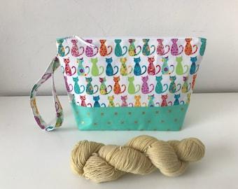 Cat Project Bag, shawl project bag, zipped project bag, Crafting project bag, yarn bag, crochet bag, medium project bag