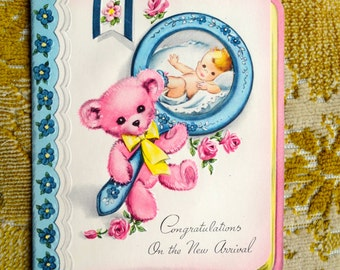 Vintage 1950s Greeting Card New Arrival / Baby Girl / Short Poem / Greeting Cards