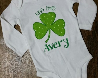 "Baby toddler girl boy embroidered clover shamrock ""Kiss Me"" St Patrick's Day onesie bodysuit shirt outift personalized monogram"