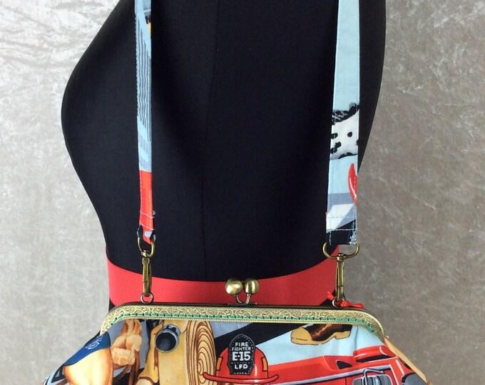 Firefighters Fabric purse bag frame handbag fabric clutch shoulder frame purse kiss clasp handmade Alexander Henry Ready For Action Firemen
