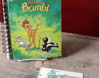 recycled little golden book, 'bambi' notebook, journal, or guest book