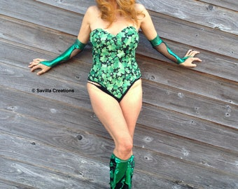 SALE!! Poison Ivy corset top. Handmade in USA
