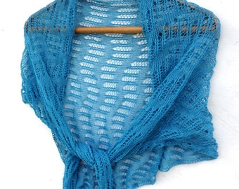 Knit Triangle scarf, knit cotton scarf, knitted cotton shawl, blue lace wrap, knitting summer scarf, women men wrap, accessories, kerchief