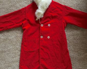 Vintage 1950's Girls red corduroy coat with real mink collar