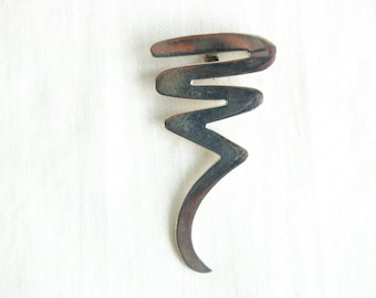Mexican Squiggle Pendant Brooch Twisted Spiral Sterling Silver Cyclone Vintage Pin Taxco Mexico Abstract Modern Jewelry