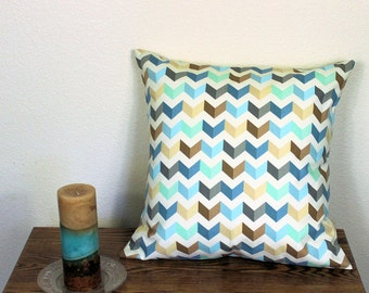"""Waverly Tip Top Chevron Decorator Throw Pillow Cover in Cotton Fabric -  18"""" or 20"""" Covers, Aqua Blue and Brown, B2"""