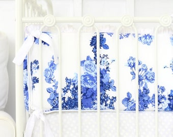 Juliet's Blue and White Floral Ruffle Crib Bumpers | Blue, White, Ruffle, Floral, Flower, Baby Girl Nursery Bumpers